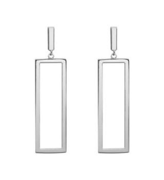 LILIE&WHITE Women Oblong Metal Geometric Rectangle shape Drop Dangle Earrings For Women - Imitation Rhodium - C117YIAD5DX
