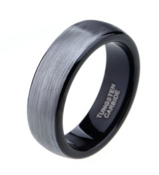 6mm 8mm Black Grey Tungsten Carbide Rings for Men Women Brushed Dome Wedding Band Size 4-15 - CP12NFFHC9U