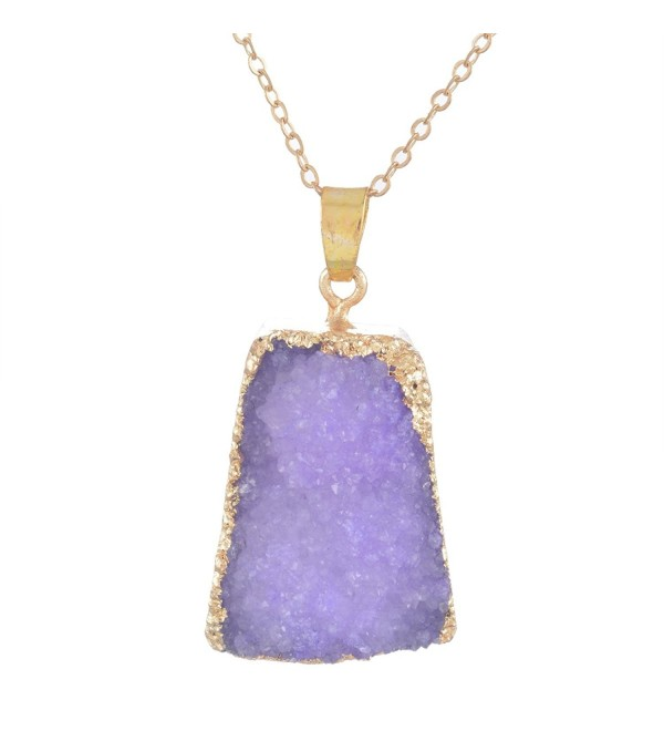 MJARTORIA Gold Color Purple Bezel Raw Stone Healing Power Pendant Druzy Necklace - CG126LC13EJ