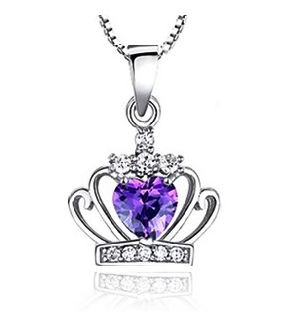 """Sephla""""My Princess"""" Heart Shape Crystal Princess Crown Pendant Necklace - C012DR6LGNP"""