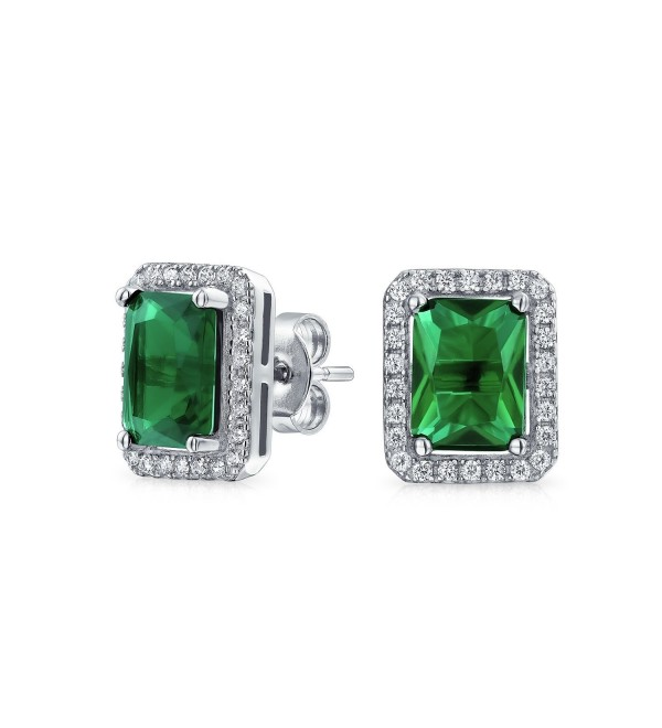 Bling Jewelry Simulated Emerald May Birthstone CZ Rectangle Stud earrings 925 Sterling Silver 9mm - CF11BH5F5TP