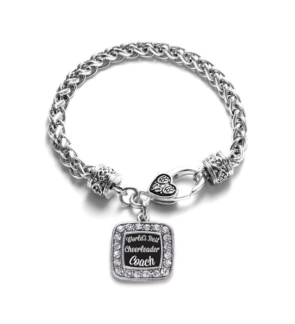 World's Best Cheerleader Coach Classic Silver Plated Square Crystal Charm Bracelet - CD11U7O1XWF