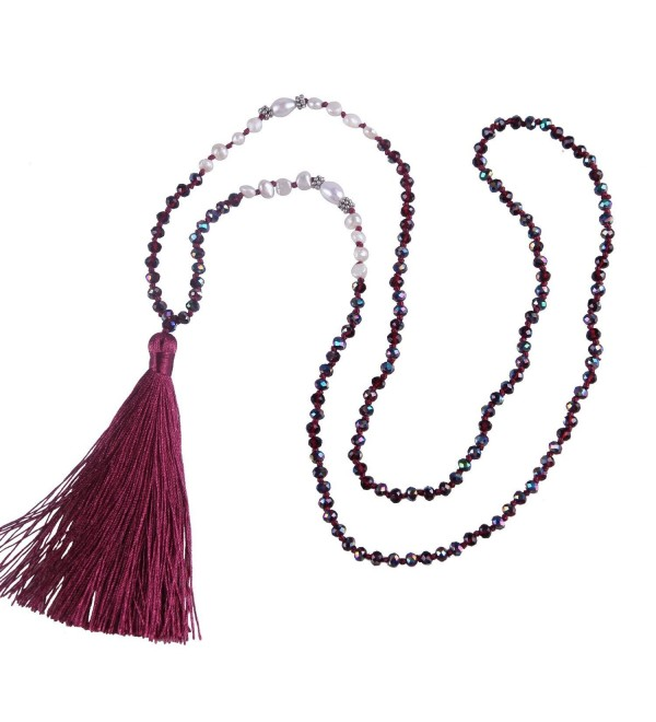KELITCH Natural Pearl Crystal Beaded Necklace Handmade Long Tassels Pendants New Fashion Charm Jewelry - Rose Red - C012GUK79G3