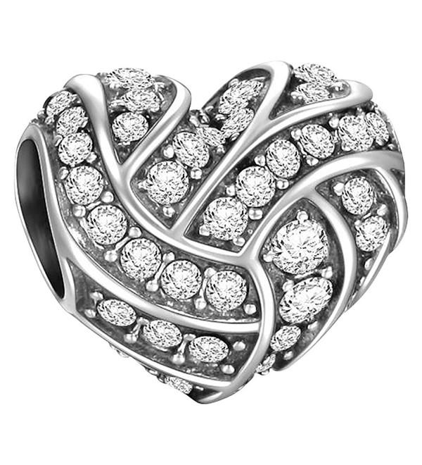 SOUFEEL White Heart Shaped Charm 925 Sterling Silver Charms Fit European Bracelets Love Gift - C81253JU9OL