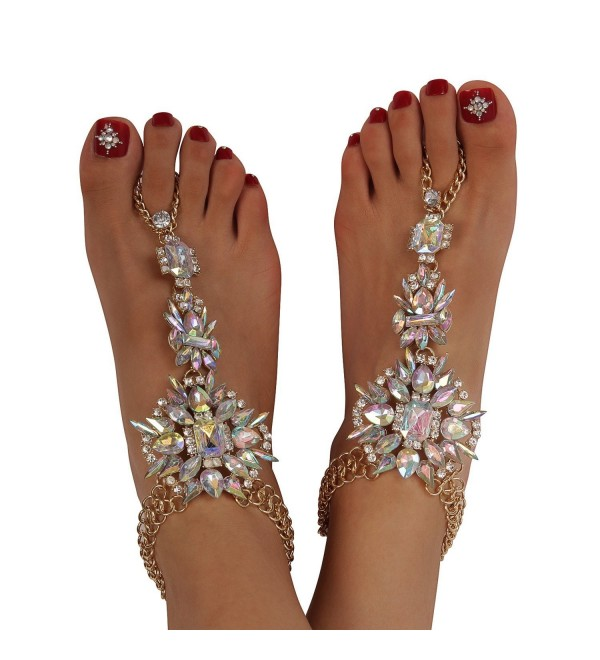 Holylove 3 Models 1 Pair Foot Chain for Women Beach Vacation Barefoot Sandals with Gift Box - Crystal-AB039 - C412IYY9VDH