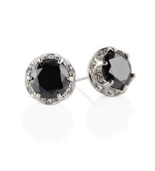 Jardme Crown Shape Crystal Round Earring Stud White Cubic Zircon Earring Stud For Party- Evening - Black - CA1878H97WN