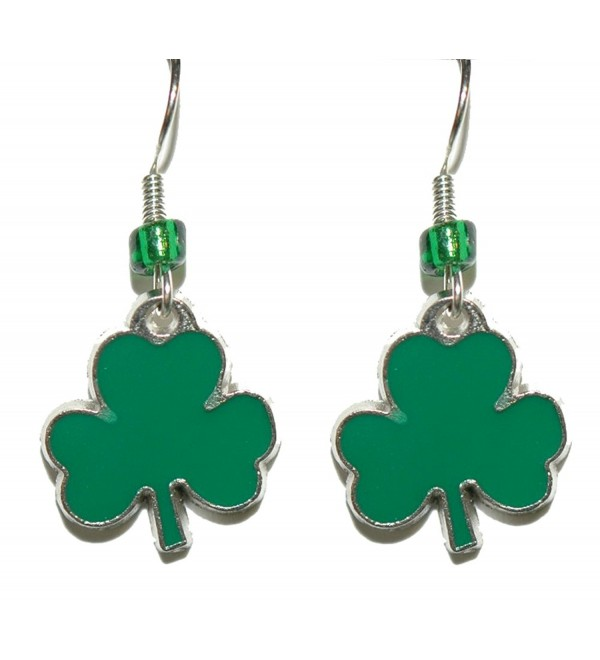 Bright Green St Patrick's Day Shamrock Dangle Earrings (H016) - C417X0NSA29