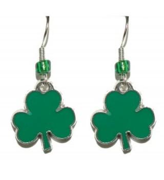 Bright Green St Patrick's Day Shamrock Dangle Earrings (H016) - C417X0NSA29