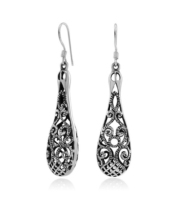 925 Sterling Silver Bali Inspired Open Filigree Long Puffed Teardrop Dangle Hook Earrings - CX11O1WV0JF