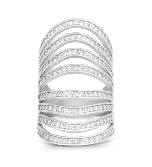 Sterling Silver Channel Set CZ Multi-Row Long Ring - CQ11MQOCYPJ