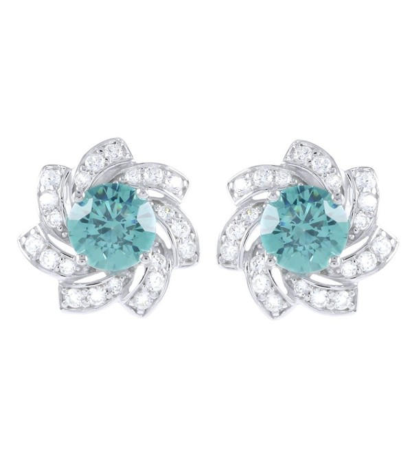 4.00 Ct Paraiba Tourmaline & White Cubic Zirconia Flower Stud Earrings 14K White Gold Over Sterling Silver - CP12O2Y4UTZ