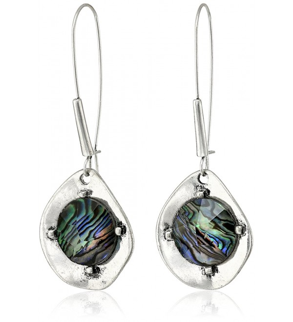 "Robert Lee Morris Soho ""Blue Dimension"" Abalone Faceted Bead Sculptural Long Drop Earrings - C911S4AKTYV"