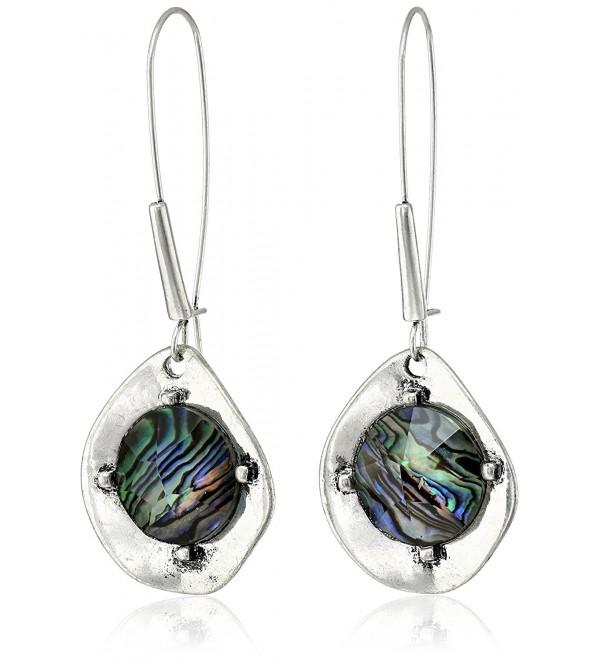 "Robert Lee Morris Soho ""Blue Dimension"" Abalone Faceted Bead Sculptural Long Drop Earrings - C911S4AKTYV"