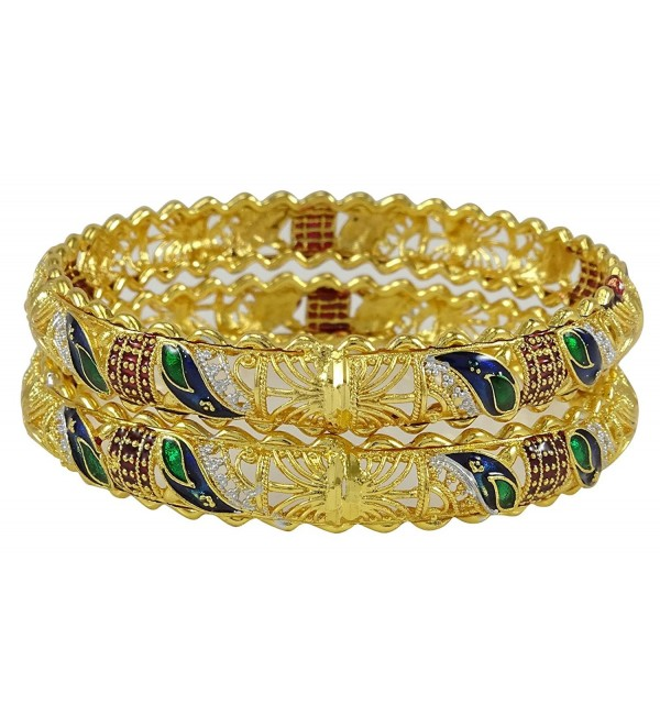 Banithani Indian Women Traditional Wedding Bangle Kada Set Bracelet Designer Jewelry - Gold - C7182A0GX0Y