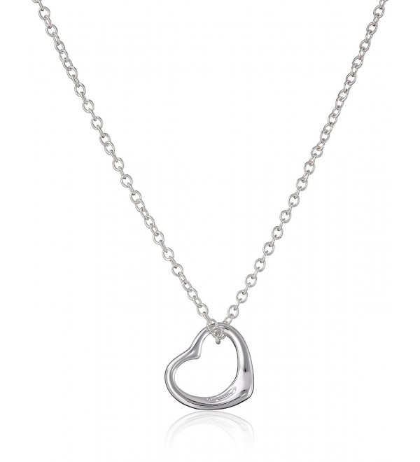 Sterling Silver Floating Heart Pendant Chain Necklace (w/Box Chain) - CI11IV9LQ6B