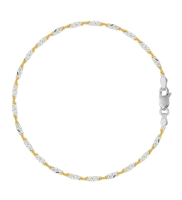 White And Yellow Singapore Style Chain Anklet In Sterling Silver - CX119T8AADV