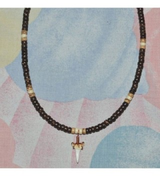 """Native Treasure - 18"""" Shark Tooth- Brown- Tan and Cream Wood Coco Bead Necklace - 5mm (3/16"""") - C611GNLL10P"""