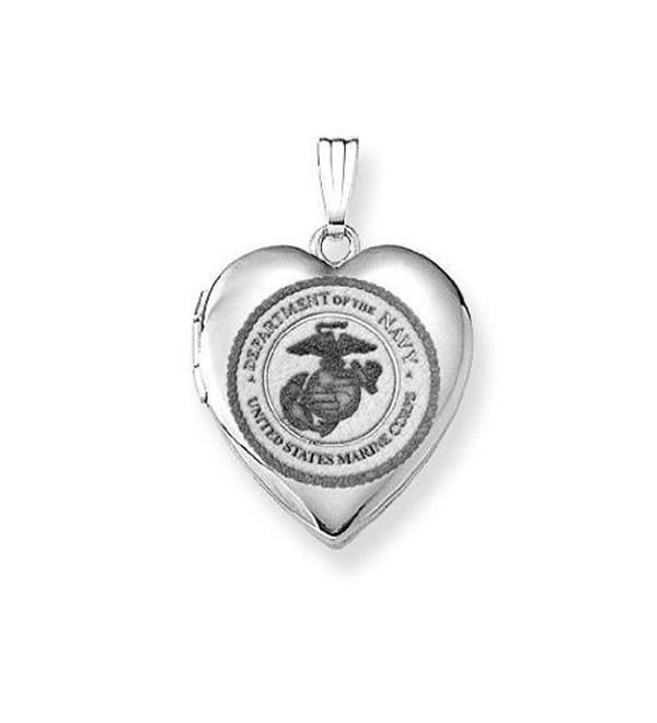 Sterling Silver Marine Corps Heart Locket 3/4 Inch X 3/4 Inch - CC11ETL94DR