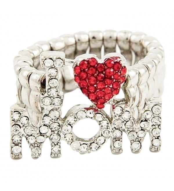 I Love Mom Stretch Ring BQ Red Heart Clear Crystals - C5110TTE1IL