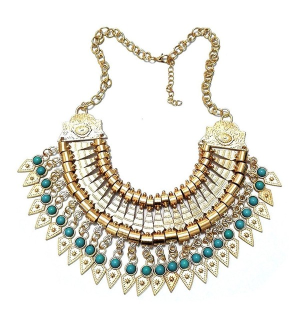 MuLuo Boho Gypsy Festival Turkish Coin Collar Bib Choker Statement Necklace - gold - CN12GRU992X
