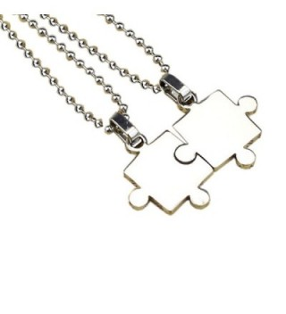 Susenstone Couple Stainless Steel Puzzle Pendant Necklace - CA12558PP67