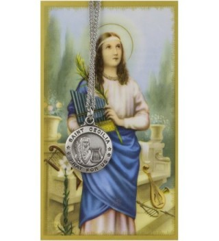 Saint Cecilia 3/4-inch Pewter Medal Pendant Necklace with Holy Prayer Card - C0117J9GZ51