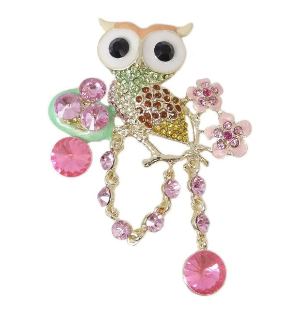 EVER FAITH Austrian Crystal Enamel Adorable Flower Owl Bird Nest Baby Egg Brooch - Pink - CJ11FEJW935
