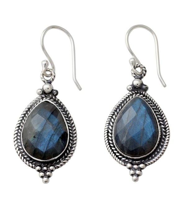 NOVICA Labradorite .925 Sterling Silver Dangle Hook Earrings- 'Romantic Dew Drops' - CS12IGK7QC7