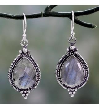 NOVICA Labradorite Sterling Earrings Romantic in Women's Drop & Dangle Earrings