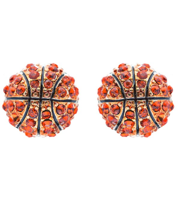 Sport Basketball Crystal Rhinestone 14mm Drop Stud Fashion Earrings Gold Orange - CD118ZU4M8F