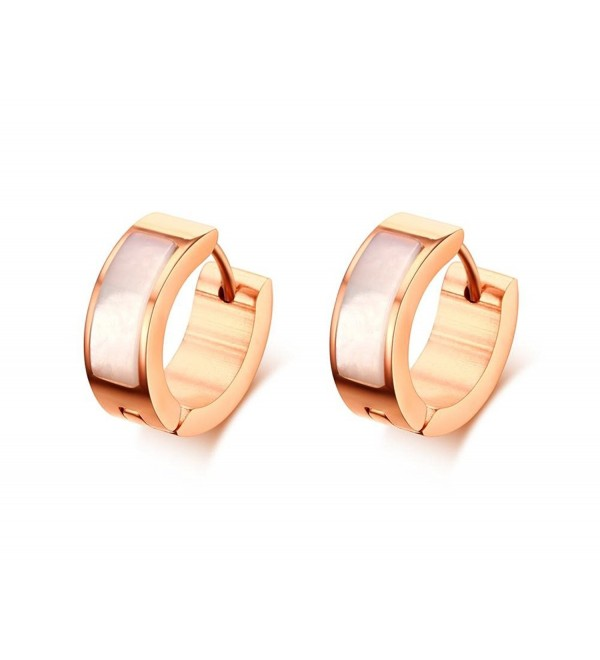Rose Gold Plated Women's Girls Mother of Pearl Inlay Small Huggie Hoope Earrings - CG1824UCXT6