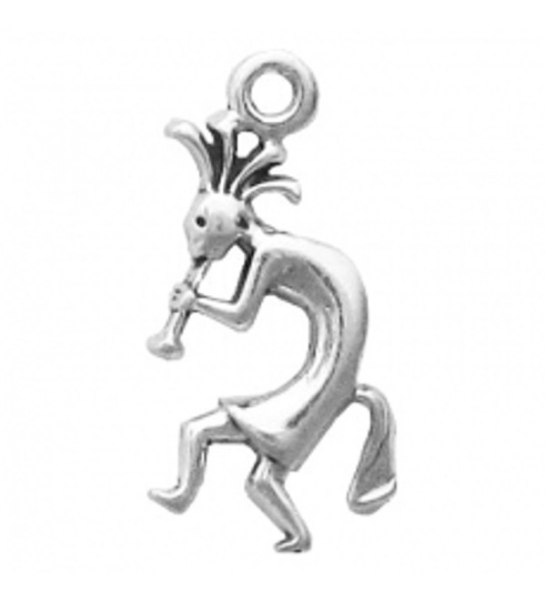 Sterling Silver Mini Flute Playing Kokopelli Facing Left Charm - CR11BEFO7UB