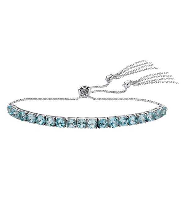 "Platinum over Sterling Silver Slider Bracelet (4mm)- Round Genuine Blue Topaz- 10"" Adjustable - CS187NU452E"