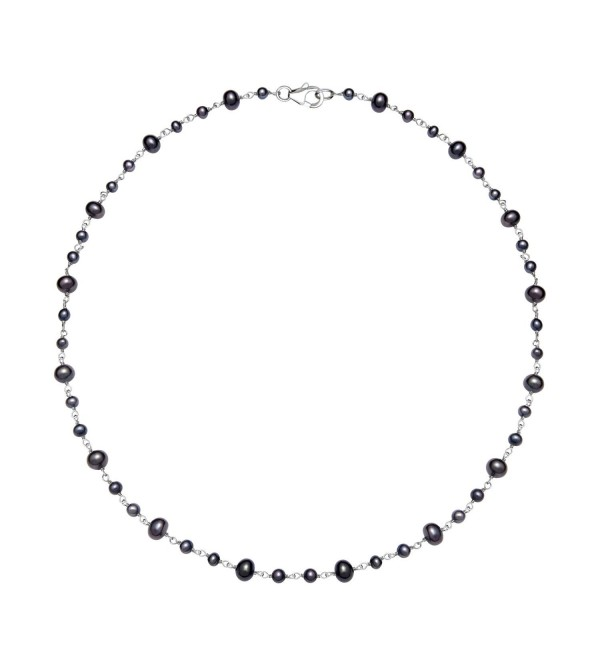 "Sterling Silver 3-5.5mm Cultured Freshwater Pearl Station Chain Necklace- 18"" - Black - C211CRP7M7R"