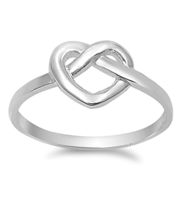 Women's Infinity Knot Heart Promise Ring New 925 Sterling Silver Band Sizes 4-10 - CQ11Y23P18J