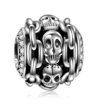 925 Sterling Silver Skull Halloween Skeleton Charms For European Bracelets Women Girl Gifts - Chain - CW182AQ774Q
