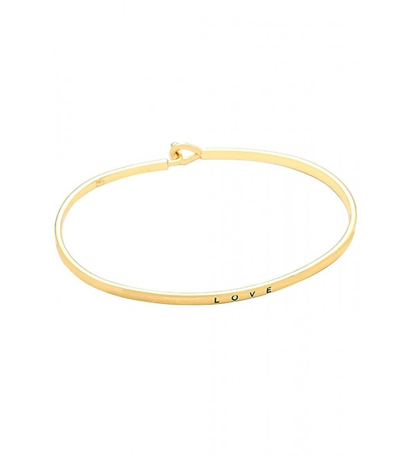 "Rosemarie Collections Women's Thin Hook Bangle Bracelet ""Love"" - Gold - CS120CRXVT9"