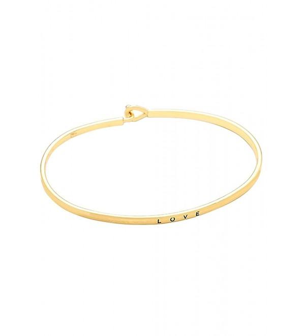 "Rosemarie Collections Women's Thin Hook Bangle Bracelet ""Love"" - Gold - CS120CRXVT9"