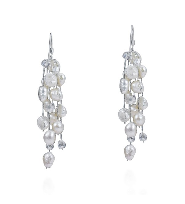 Striking Waterfall Cultured Freshwater White Pearls .925 Sterling Silver Hooks Earrings - CL11V23FSDF