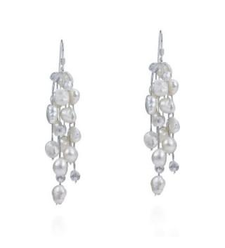 Striking Waterfall Cultured Freshwater White Pearls .925 Sterling Silver Hooks Earrings - CL11V23FSDF