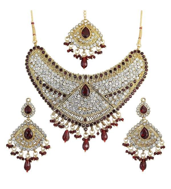 Touchstone Indian bollywood faux ruby-rhinestones bridal jewelry necklace set in antique gold tone - CO12L5AZ3BF