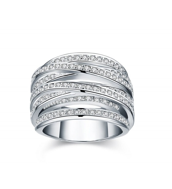 Platinum/Yellow Gold-Plated Spiral Ring with Zirconia Crystal Pave - CR12KGDORQP