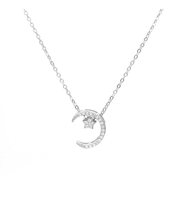 "Wristchie Jewelry S925 Sterling Silver Moon Star Cubic Zirconia Pendant Necklace 18""+2"" - silver - CY12NUHLNTK"