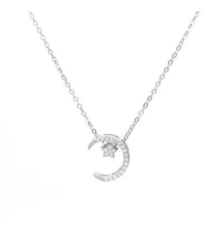 """Wristchie Jewelry S925 Sterling Silver Moon Star Cubic Zirconia Pendant Necklace 18""""+2"""" - silver - CY12NUHLNTK"""