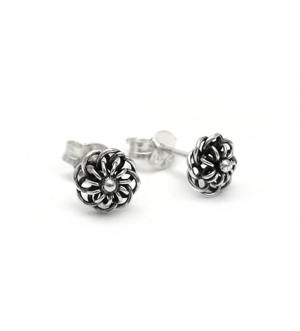 Sterling Silver Wire Loop Flowers Stud Post Earrings - CS11ECESNSX