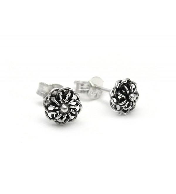 Sterling Silver Wire Loop Flowers Stud Post Earrings - CS11ECESNSX