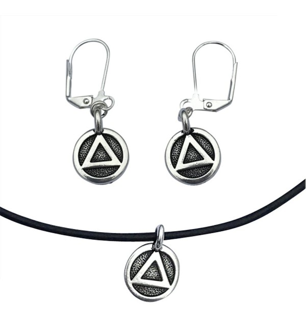 AA Alcoholics Anonymous Sobriety Recovery Triangle Charm Necklace & Earring Set- Silver & Black Leather - CI182AUDL93