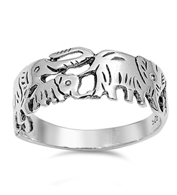 CHOOSE YOUR COLOR Sterling Silver Elephant Family Ring - C2123UYXWQN