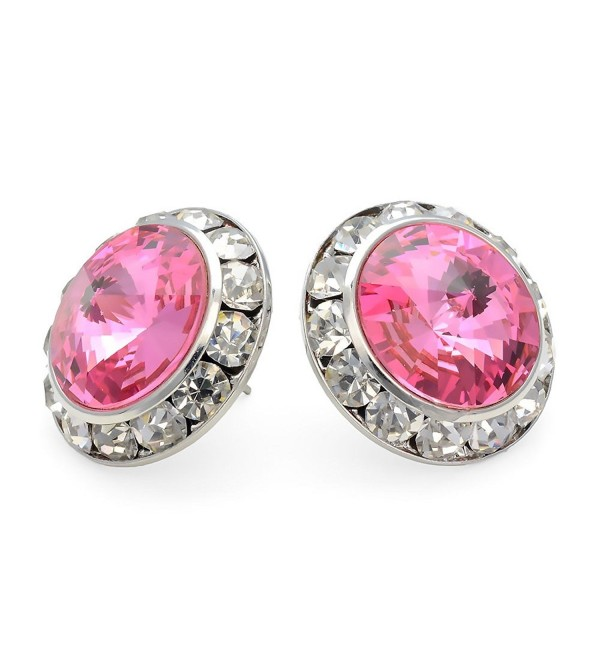 PammyJ Pink 20mm Crystal Framed Post Earrings - C6113W9K60R