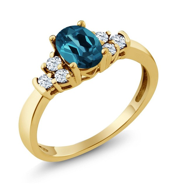 0.79 Ct Oval London Blue Topaz White Topaz 925 Yellow Gold Plated Silver Ring - CA117DQPZVZ